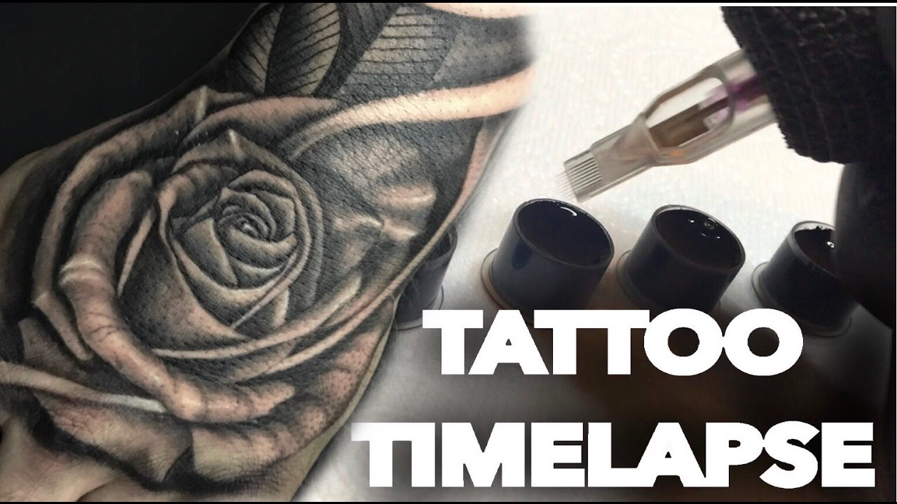78a7aec474745 TATTOO TIME LAPSE | REALISTIC ROSE ON HAND AND SKULL ON FOREARM | CHRISSY  LEE