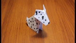 Как сделать собаку из бумаги.