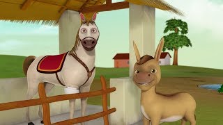 The Donkey and the Horse   Bengali Stories for Kids   Infobells
