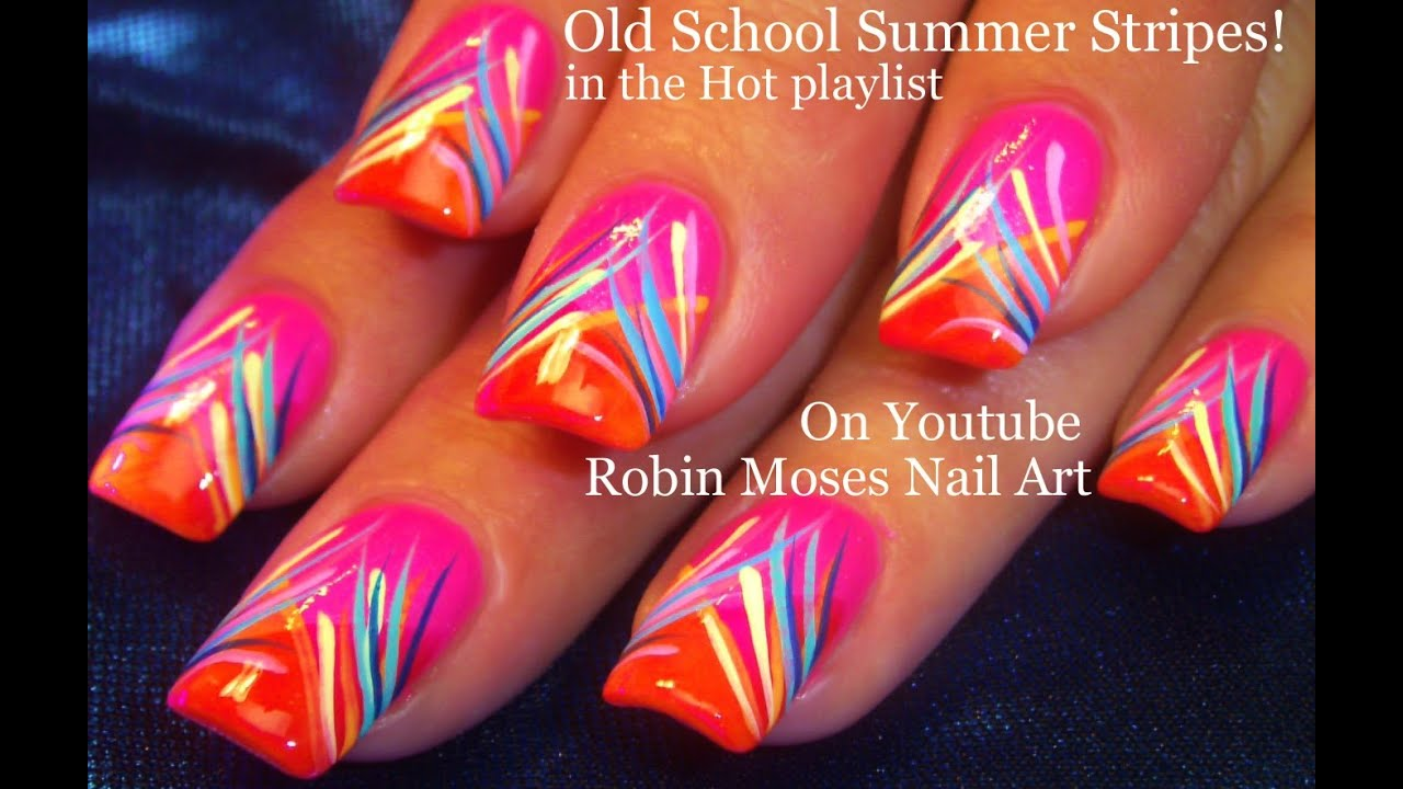 Nail Art Tutorial | DIY Easy Neon Hot Summer Nails | Stripe Nail Design -  YouTube - Nail Art Tutorial DIY Easy Neon Hot Summer Nails Stripe Nail