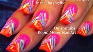 Nail Art Tutorial | Diy Easy Neon Hot Summer Nails | Stripe Nail Design