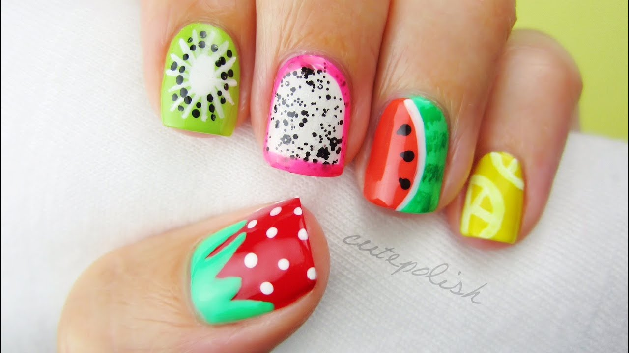 5 Summer Fruit Nail Art Designs! - YouTube