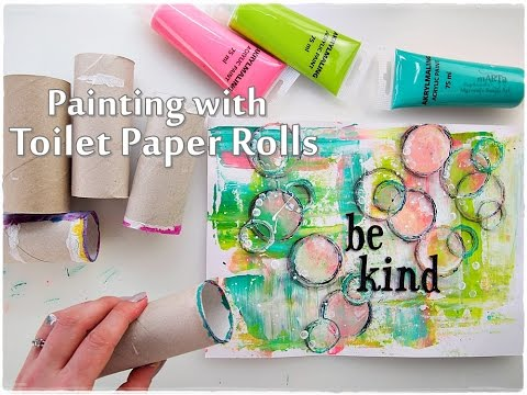 Toilet Paper Roll Abstract Painting Technique for Beginners ♡ Maremi's Small Art ♡