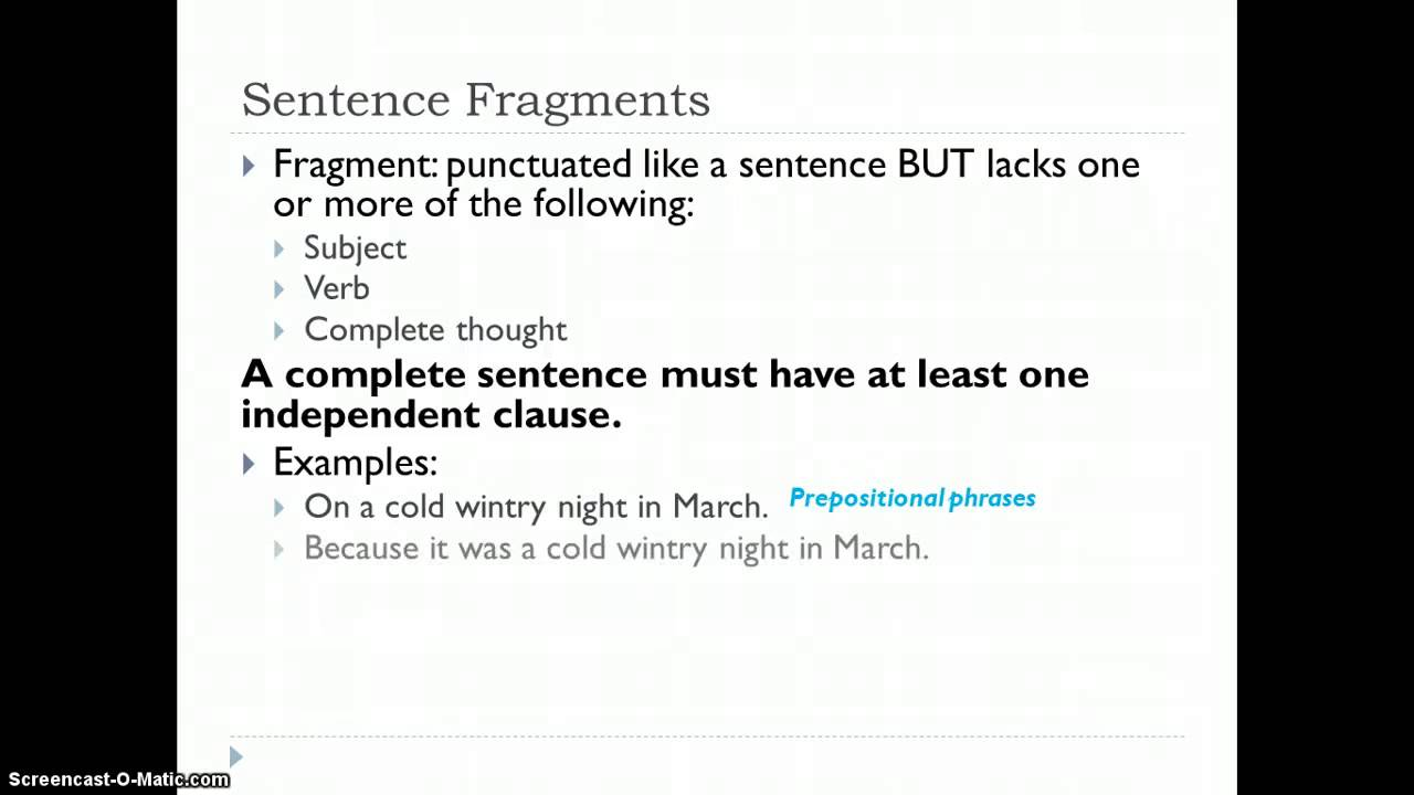 Fragments And Run On Sentences Youtube