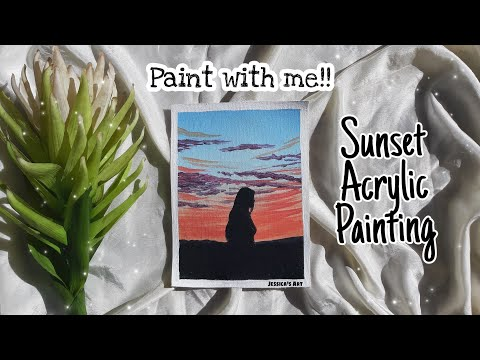 Paint With Me!! | Sunset Acrylic Painting | Acrylic Process Video | Jessica's Art