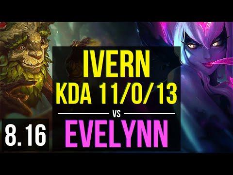 IVERN vs EVELYNN (JUNGLE) ~ KDA 11/0/13, 1200+ games, Legendary ~ Korea Master ~ Patch 8.16