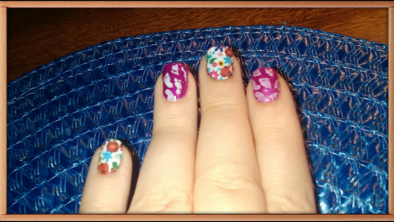 Stamping & Dollar Tree Nail Stickers -- Barefoot Garden - YouTube