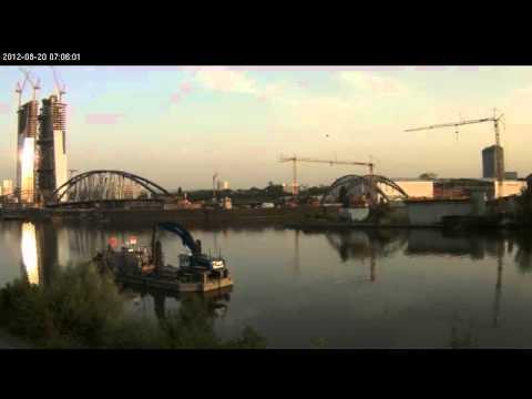 1. Zeitrafferfilm zu den Arbeiten an der neuen Mainbrücke in Frankfurt