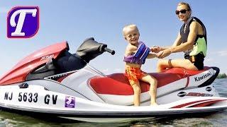 Летнее Развлечение на Речке Видео Для Детей влог америка Макс Max Jetskiing entertainment