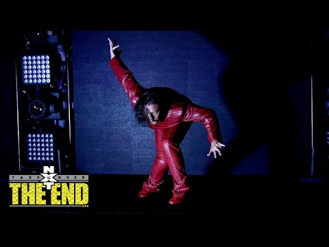 Nakamura makes his entrance for his bout with Austin Aries: NXT TakeOver: The End... on WWE Network