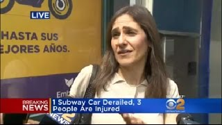 CBS2's Emily Smith speaks to a woman who was on a subway car that d...