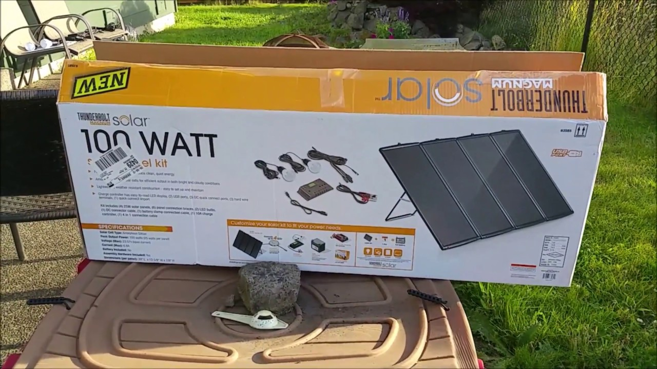 Harbor Freight 100w Solar Kit Full Review Day 1