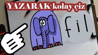 KOLAY FiL ÇİZİMİ / Wordtoon elephant Turkish