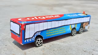 How to make a bus with colgate box - mini bus - Build a Electric toothpaste box bus DIY