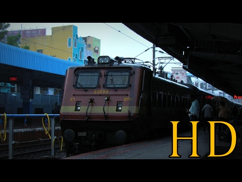 INDIAN RAILWAYS TIRUPATI BENGALURU FULL MONSOON JOURNEY COMPILATION, WAP4 hauled Intercity Express