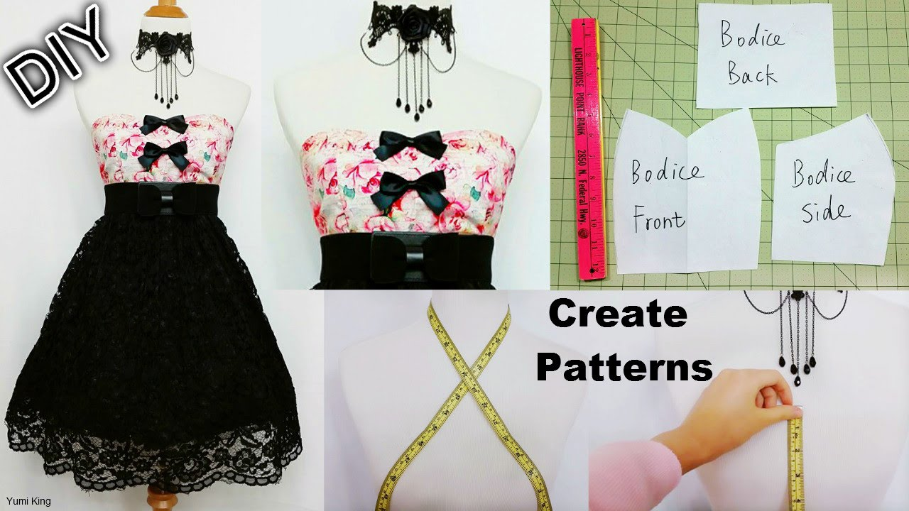 How To Create Your Own Patterns To Make Dresses And Costumes Diy Sweetheart Dress Youtube