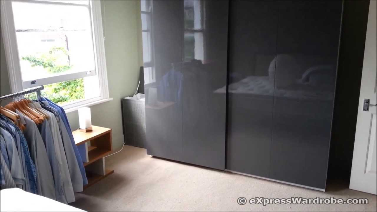 Ikea Pax Wardrobe With Hasvik Gloss Grey Sliding Door Design Youtube
