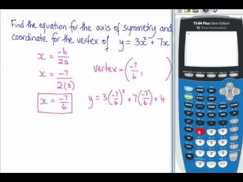 Finding The Equation For The Axis Of Symmetry The Vertex