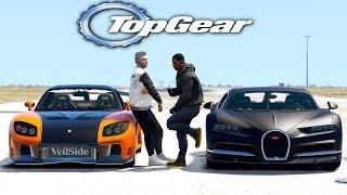 GTA V: TOP GEAR   Rx7 vs bugatti chiron , qual corre mais ? - Tj