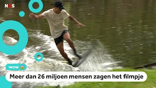 Adrien skimboardt over water in Rotterdam en gaat viral