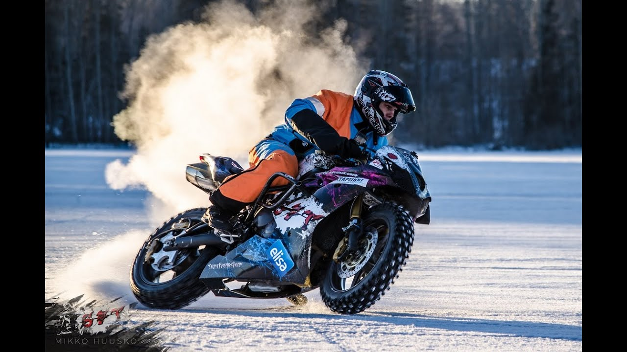 Streetbike Rallycar And Snowmobile On Ice Youtube