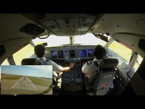 Sukhoi superJet 100 landing in Dallas-Fort Worth Airport. Cockpit view