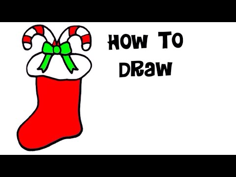 Christmas Stocking Line Drawing.Learn How To Draw A Christmas Stocking Sock Candy Canes Kids Drawing Coloring Kids Easy Art Crafts