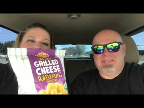 Trying Snikiddy Organic Grilled Cheese Baked Puffs