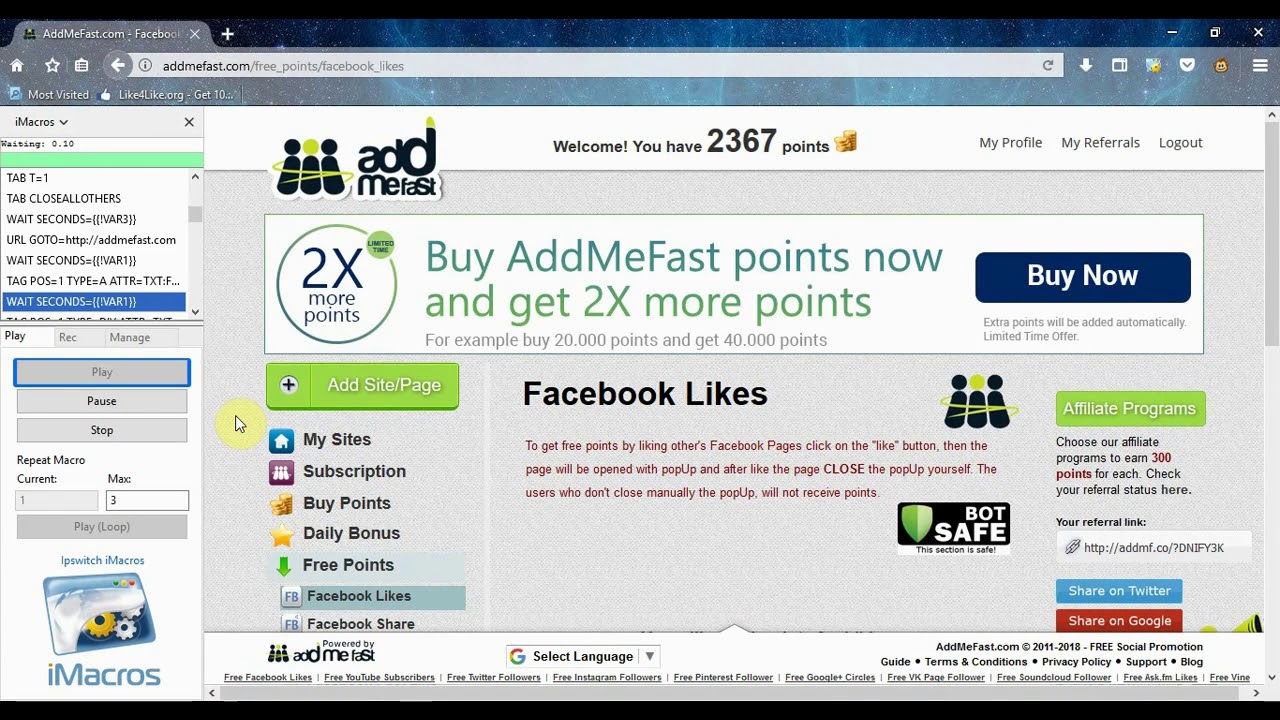 AddMeFast Imacros script Bot for Free - 2019 (Facebook Auto Page Likes)
