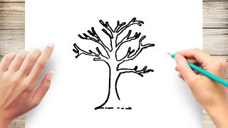 How to Draw a Tree Without Leaves Step by Step for Kids
