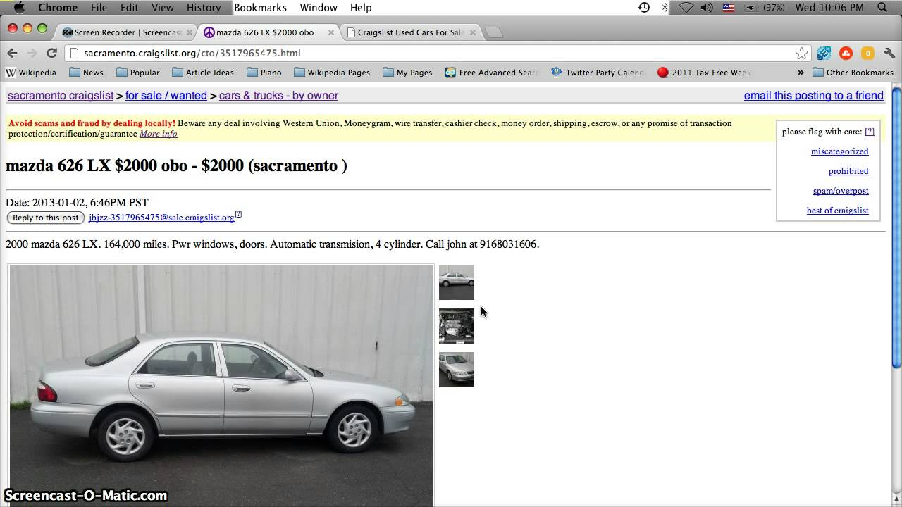 Craigslist Sacramento Used Cars For Sale In January 2013 Youtube