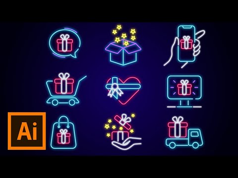 Adobe illustrator tutorial : Neon effect icons Design in illustrator by Arttutor thumbnail