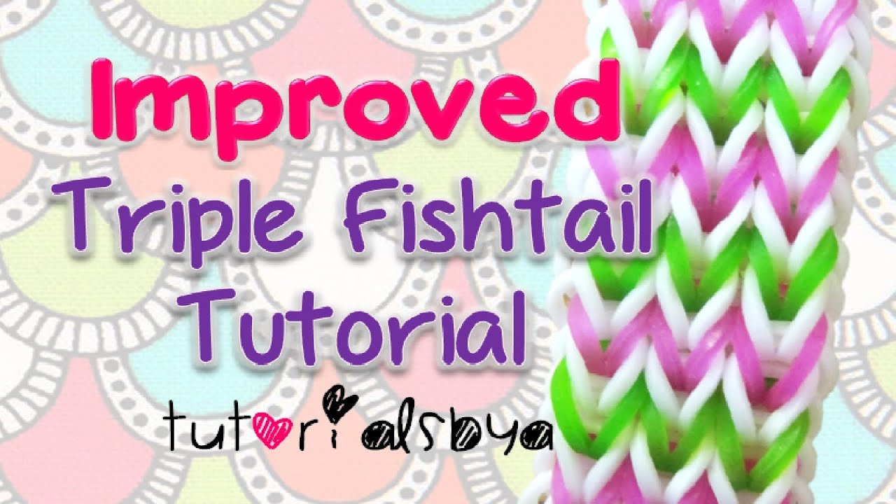 New & Improved Triple Fishtail Bracelet Rainbow Loom Tutorial Easy  Version Official Video  Youtube