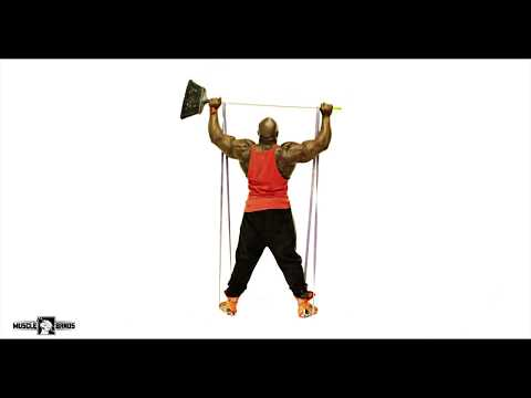 Muscle Band Resistance Bands workout tutorial Double Arm Shoulder Press with Broom Stick thumbnail