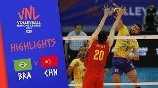BRAZIL vs. CHINA - Highlights Men | Week 3 | Volleyball Nations League 2019
