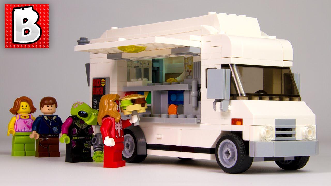 Lego Custom Food Truck MOC Nation Set   Unbox Build Time Lapse Review