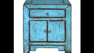 Rustic Blue Turquoise End Table