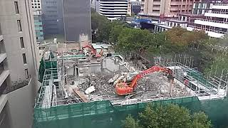 Time lapse of building demolition, 15 Dec 2017