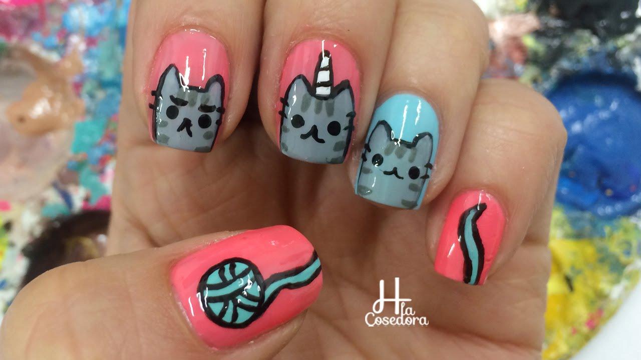 Decoracion de u as gato pusheen pusheen nail art youtube for Decoracion de unas discretas