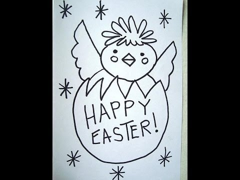 How To Draw EASTER CHICK Egg Happy Easter Card Sign Decoration Easy Kids Drawing
