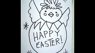 easter happy drawings draw drawing egg card sign chick easy decoration getdrawings paintingvalley