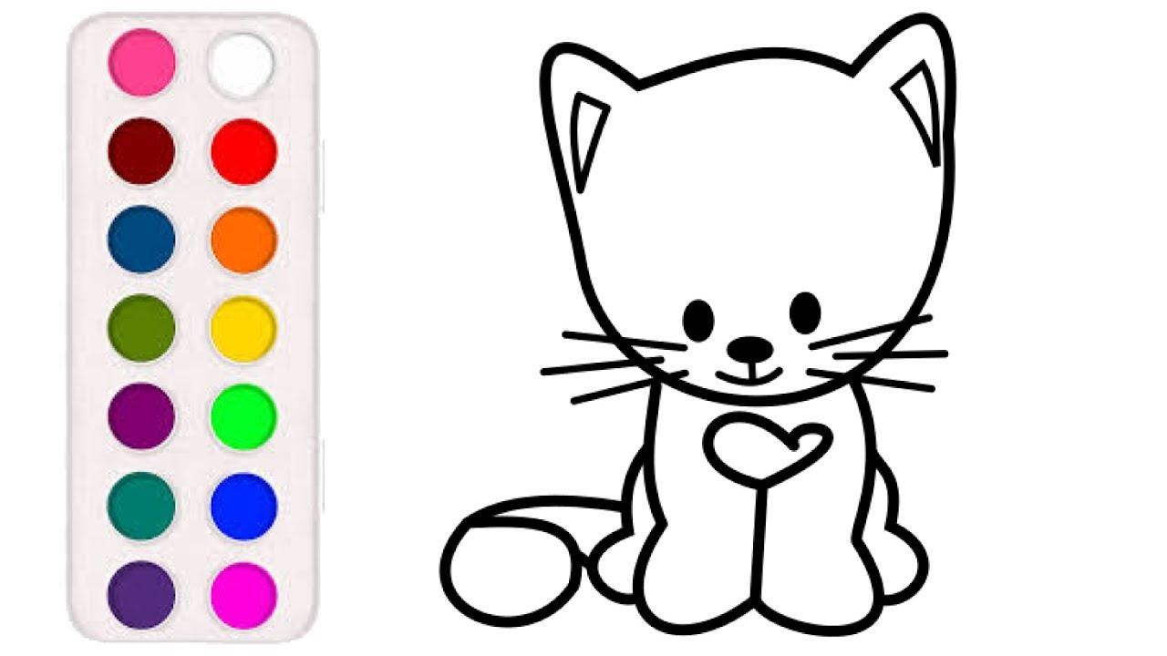 Раскраска для детей КОТ. Мультик - Раскраска. Учим цвета ...
