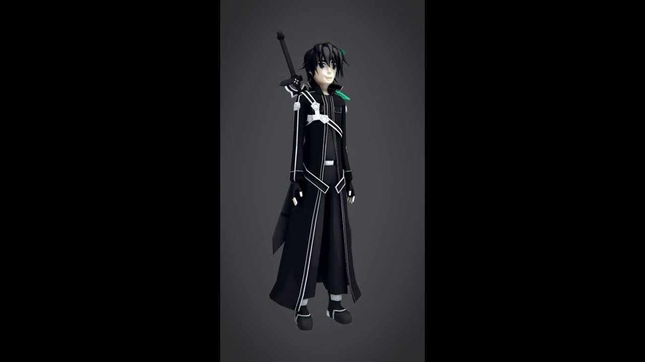 Character 3d modeling kirito swort art online youtube Online 3d modeling