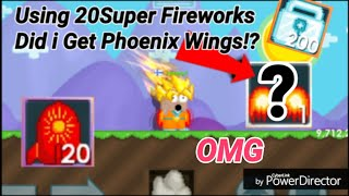 USING 20 Super FireWorks! ( DID I GET PHOENIX WINGS!? ) OMG - Growtopia