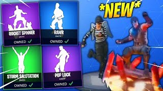 'NOUVEAU' Fortnite Saison 4 DANCES IN REAL LIFE LEAKED! (Storm Salutation,Rawr, Rocket Spinner,Pop lock)