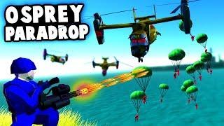 New OSPREY PARADROP vs MINIGUN Base Defense! Epic AERIAL INVASION! (Ravenfield Best Mods)