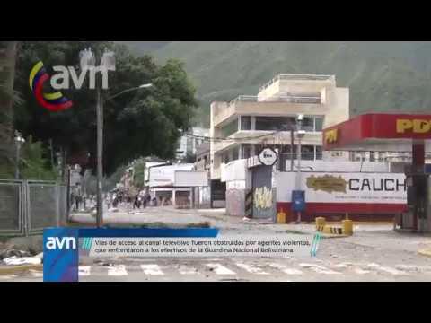 ¡Imágenes excluxivas! ataque de grupos violentos al canal del Estado venezolano