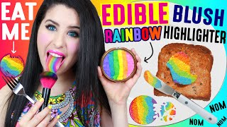 connectYoutube - DIY EDIBLE Rainbow Highlighter Blush | EAT Makeup | How To Make EATABLE Rainbow Cheek And Eyeshadow!