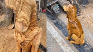 wood carving skill  chainsaw creative wood art Dog