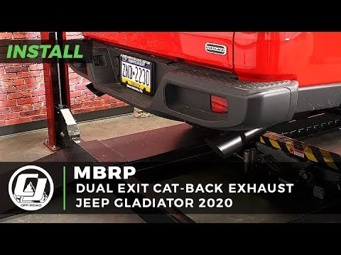 jeep gladiator install mbrp dual exit off road 2 1 2 inch cat back exhaust